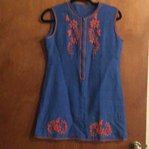 Vintage handmade embroidered mini dress M linen